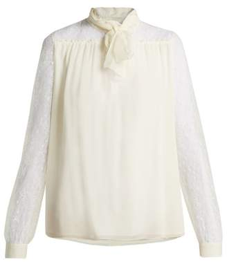 Giambattista Valli Lace Sleeve Silk Blouse - Womens - White