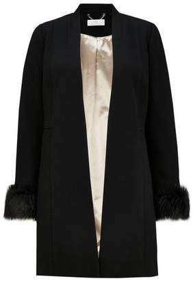 Wallis PETITE Black Faux Fur Cuff Coat