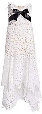 Oscar de la Renta Women's Strapless Sweetheart High-Low Lace Gown