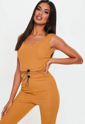 Missguided Mustard Ribbed Toggle Scoop Back Crop Top