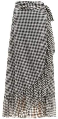 Ganni Ruffle Trim Gingham Print Mesh Wrap Skirt - Womens - Black White