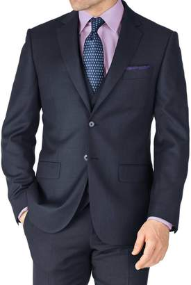 Charles Tyrwhitt Blue Slim Fit Sharkskin Travel Suit Wool Jacket Size 38