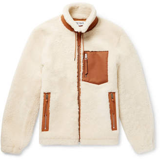 Loewe Leather-trimmed Shearling Jacket - Cream