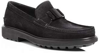 Salvatore Ferragamo Men's Grimes Suede Loafers with Rubber Lug Sole