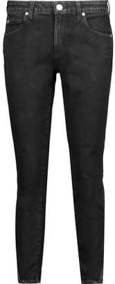 Amo Twist Zip Mid-Rise Cropped Distressed Skinny Jeans
