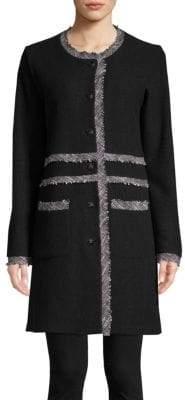Karl Lagerfeld Paris Collarless Tweed-Trimmed Long Coat