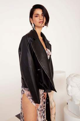 Nasty Gal It's a Long Ride Oversized Faux Leather Jacket