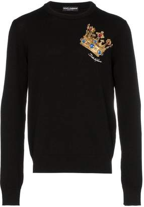Dolce & Gabbana embroidered crown crew neck sweater