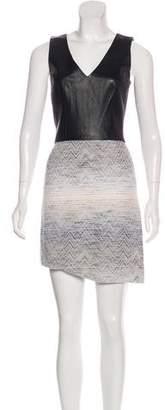 L'Agence Leather-Paneled Mini Dress