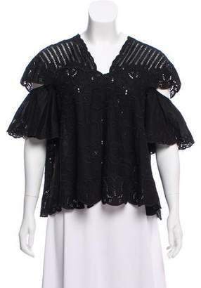 Jonathan Simkhai Embroidered Short Sleeve Blouse w/ Tags