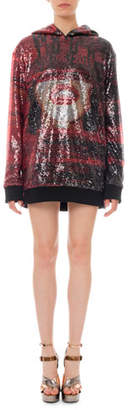 Balmain Sequined World Tour Hoodie Mini Dress