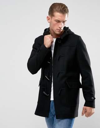 Asos Design Wool Mix Duffle Coat In Black