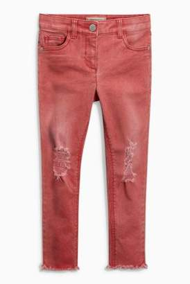 Next Girls Red Distressed Skinny Jeans With Flower Headband (3-16yrs)