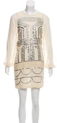 Nicole Miller Silk Embellished Dress