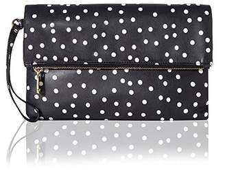 Co The Lovely Tote Women's Polka Dot Fold Over Top Zip Clutch Wristlet Handbag