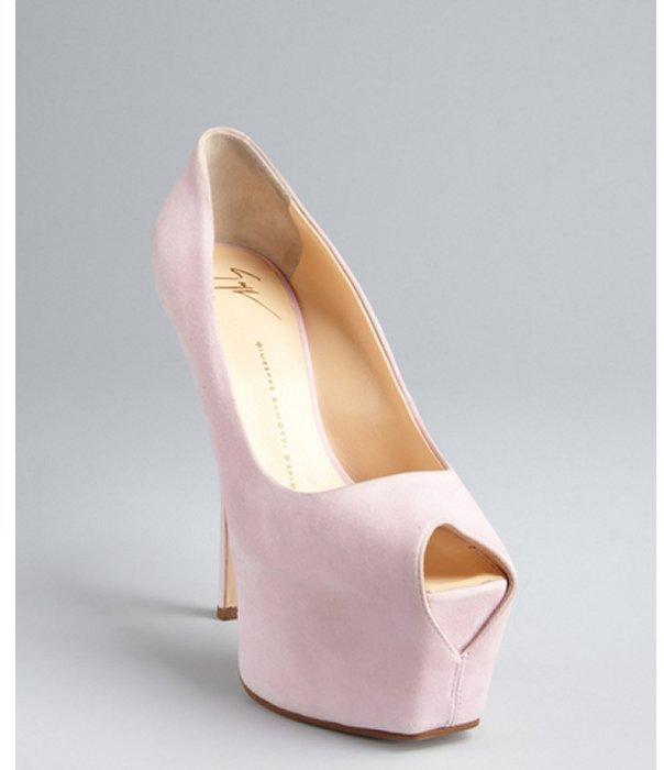 Giuseppe Zanotti powder pink suede platform peep toe pumps