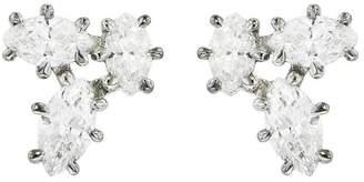 Jade Trau Carina Cluster Diamond Stud Earrings - White Gold