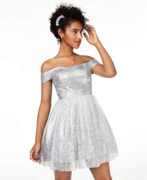 B. Darlin Juniors' Off-The-Shoulder Metallic Dress