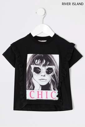 River Island Girls Photographic Girl T-Shirt And Leggings Set - Black