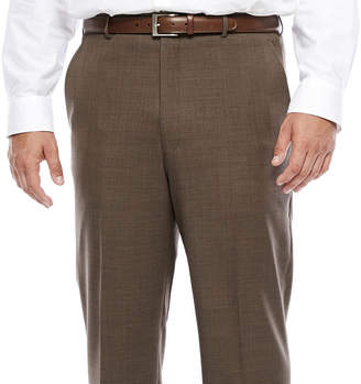 STAFFORD Stafford Travel Wool Blend Brown Sharkskin Flat-Front Pant-Big and Tall