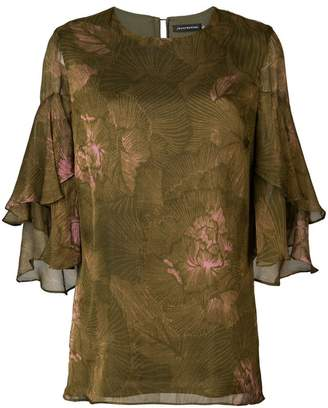 Josie Natori tiered sleeve blouse