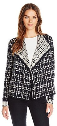 Jones New York Women's Painterly Houndstooth Drape Front Cardigan $52.91 thestylecure.com