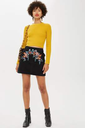 Topshop Bright Floral Denim A-Line Skirt