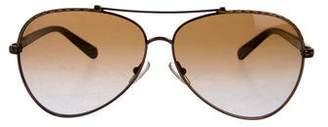 Tory Burch Embossed Leather Aviator Sunglasses