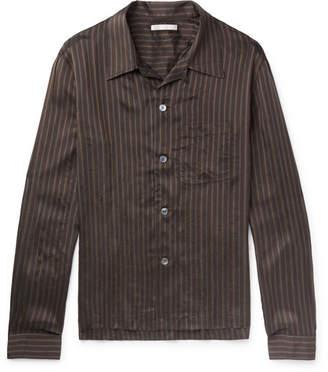 Our Legacy P.x. Camp-Collar Striped Satin Shirt