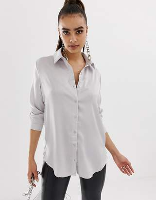 Missguided satin oversized shirt in silver