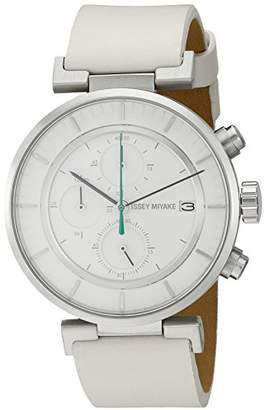 Issey Miyake Men's 'W' Quartz Stainless Steel and Leather Casual Watch (Model: NY0Y001Y)