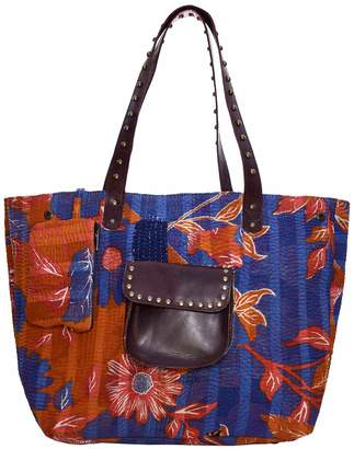 Vintage Addiction Recycled Kantha Leather Accent Stud Shopper Tote Bag