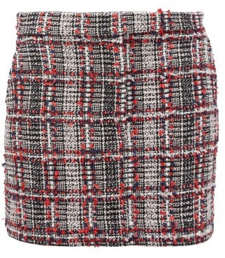Thom Browne Prince Of Wales Checked Tweed Mini Skirt - Womens - Red Multi