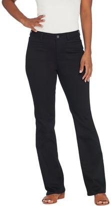 Susan Graver Petite Stretch Twill Mini Boot-Cut Pants