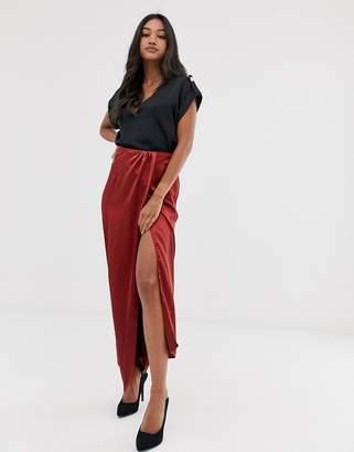 Asos Design DESIGN satin wrap front column maxi skirt