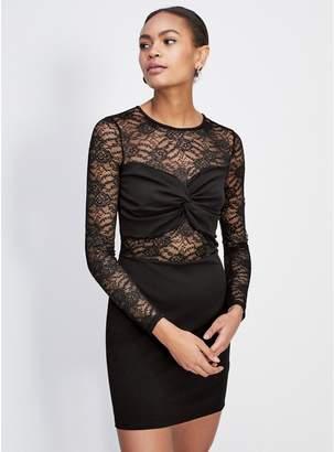 2b1a0d01968 at Debenhams · Miss Selfridge - Black Lace Panel Bodycon Dress