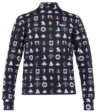 Prada Boat Print Long Sleeved T Shirt - Mens - Navy Multi