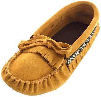 Laurentian Chief Women's Fringed Soft Sole Suede Moccasins