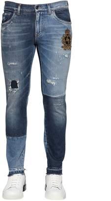 Dolce & Gabbana 16.5cm Patchwork Denim Jeans W/ Crest