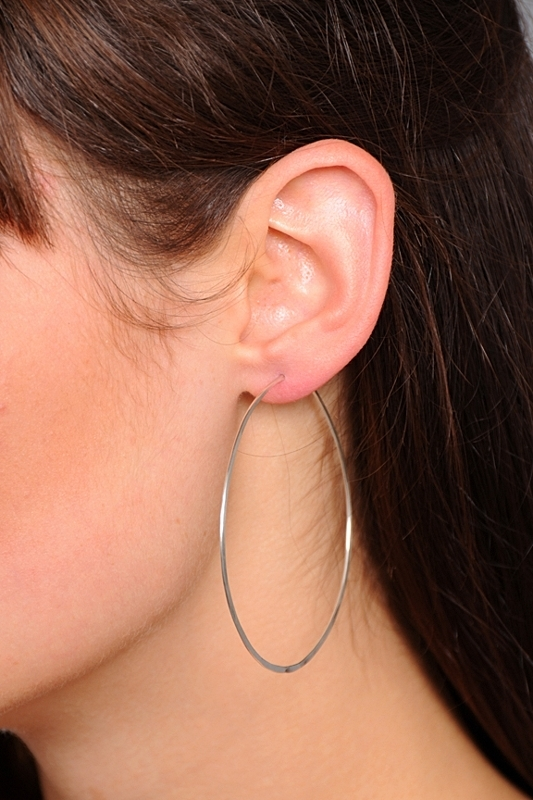 Circadian Studios Medium Silver Floating Hoop Earrings
