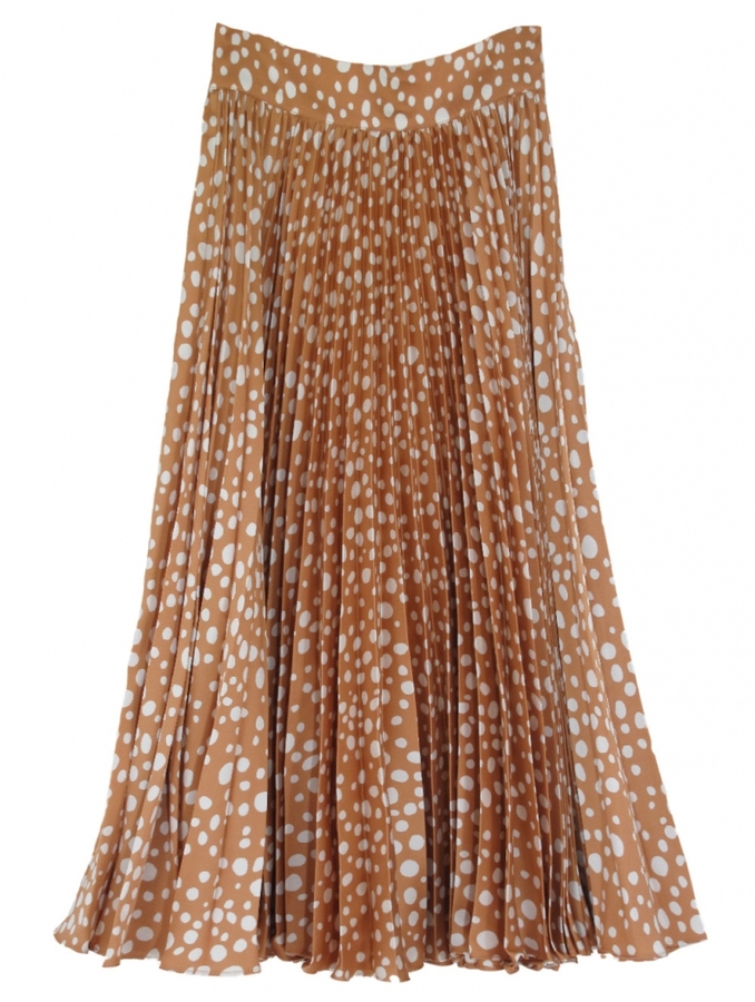 Tucker Pleated Silk Skirt