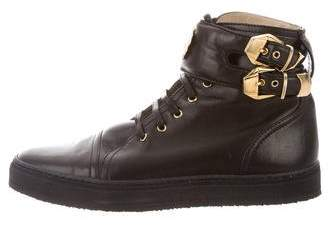 Gianni Versace Leather High-Top Sneakers