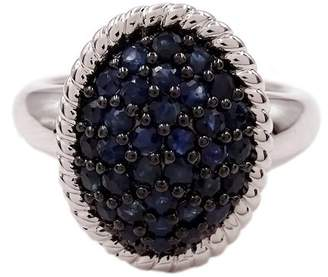 Savvy Cie Sterling Silver Sapphire Pave Ring