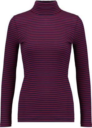 Petit Bateau Striped cotton rib-knit turtleneck top $85 thestylecure.com