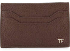 Tom Ford Leather TF Card Case, Chocolate