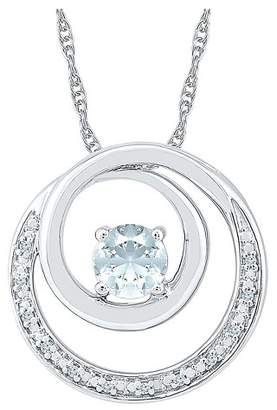 Diamond Accent Round White Diamond and Lab Created White Sapphire Circle Pendant in Sterling Silver (I-J,I2-I3)