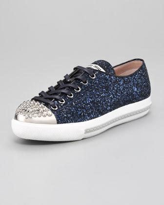 Miu Miu Studded Cap-Toe Glitter Sneaker