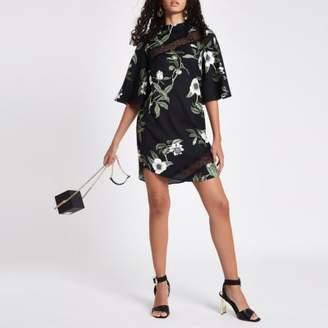 River Island Black floral lace trim swing dress