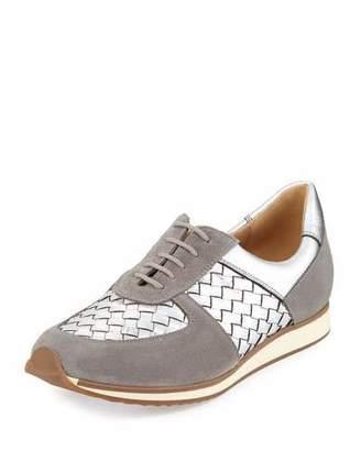 Sesto Meucci Casia Woven Leather Sneaker, Silver $275 thestylecure.com