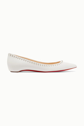 Christian Louboutin Anjalina Studded Leather Point-toe Flats - White